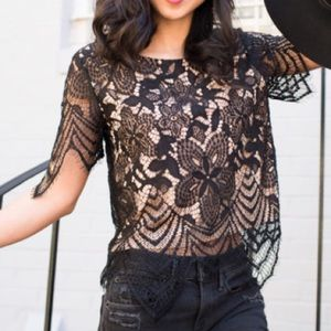 Express | Black Lacey Top with Tan Underlay